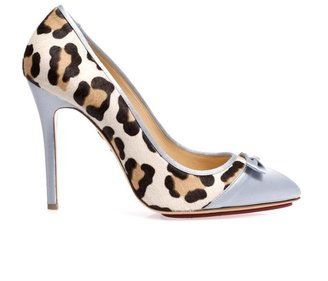 Charlotte Olympia Grace satin and calf-hair pumps