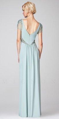 Mignon Illusion Embellished Cap Sleeve Long Evening Dress
