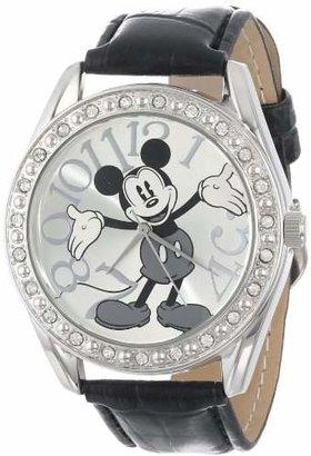 Disney Unisex MK1015 Mickey Mouse Dial Black Crocodile Strap Watch