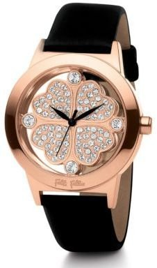 Folli Follie Ladies' Heart4Heart Rose Gold & Black Patent Leather Watch