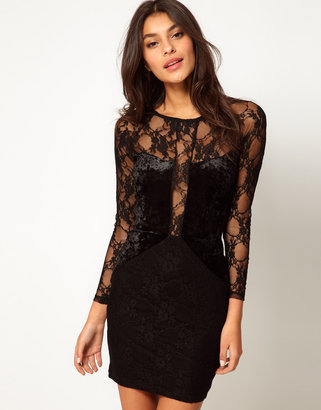 Asos Body-Conscious Dress in Lace And Velvet