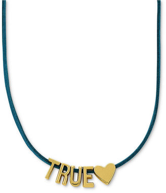 BCBGeneration Necklace, Gold-Tone Turquoise Suede True Love Affirmation Necklace