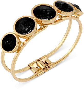 Kenneth Cole New York Bracelet, Gold-Tone Faceted Round Bead Hinged Bangle Bracelet