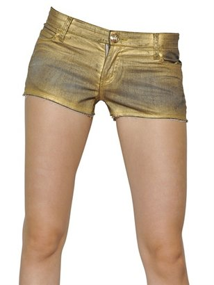 Faith Connexion Gold Waxed Cotton Denim Shorts