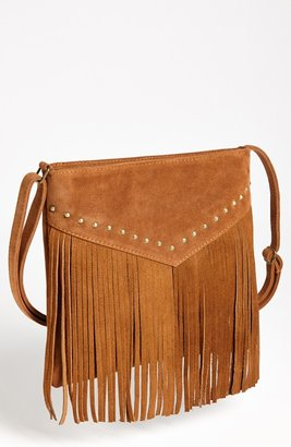 BP Studded Fringe Crossbody Bag Brown