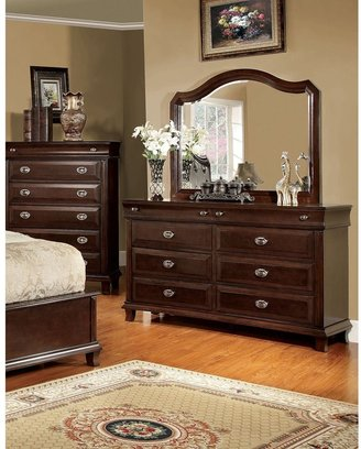 Furniture of America Dere Cherry 2-piece Dresser and Mirror Set