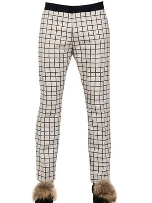 Checked Cotton Flannel Trousers
