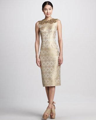 Vera Wang Beaded Metallic Jacquard Sheath Dress