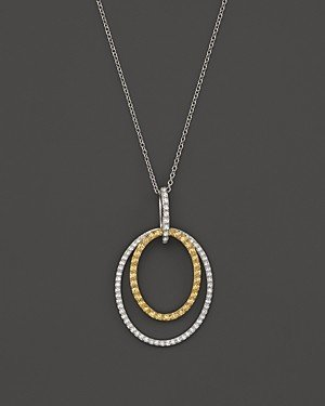 Bloomingdale's Yellow and White Diamond Oval Pendant Necklace in 14K White and Yellow Gold, 17 - 100% Exclusive
