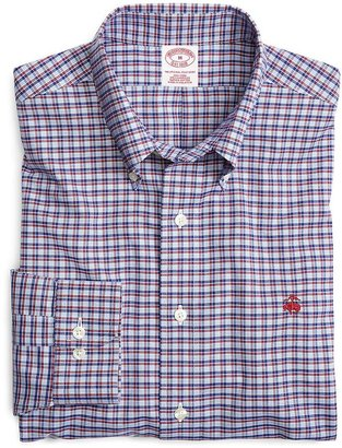 Brooks Brothers Supima® Cotton Non-Iron Regular Fit Blue with Red Check Sport Shirt