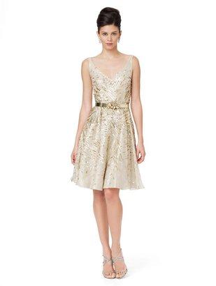 Oscar de la Renta Embroidered V-Neck Dress With Full Skirt