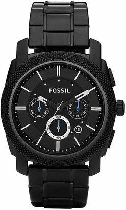 Fossil Men Chronograph Machine Black Stainless Steel Bracelet Watch 45mm FS4552