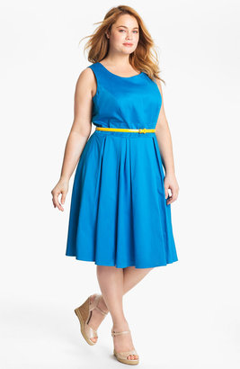 Calvin Klein Belted Fit & Flare Dress (Plus)