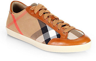 Burberry Hartfield Check Canvas & Leather Sneakers