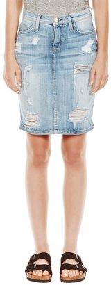 Current/Elliott CURRENT/ELLIOT The Stiletto Distressed Denim Pencil Skirt