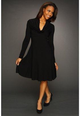 Karen Kane Cosmopolitan Long Sleeve Drape Neck Dress (Black) - Apparel