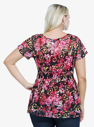 Babydoll Torrid Floral Print Lace Empire Top