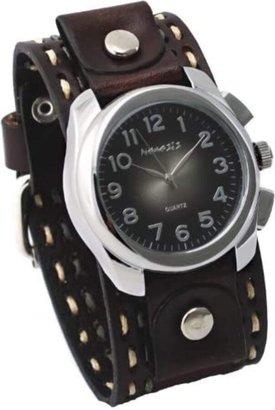 Nemesis BDT091K Men's Wide Burgundy Brown Leather Cuff Band w/Stitching Sunburst Black Dial Watch