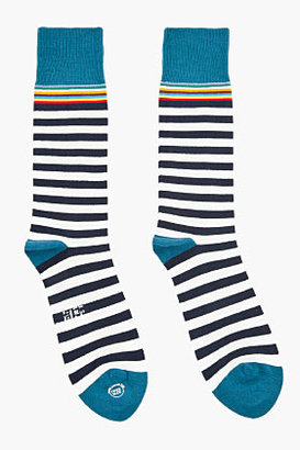 Paul Smith & White Multi-Stripe Stretch Socks