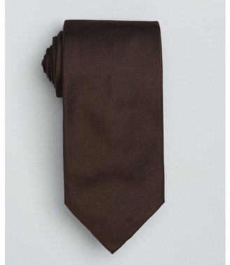 Prada dark brown solid logo silk tie