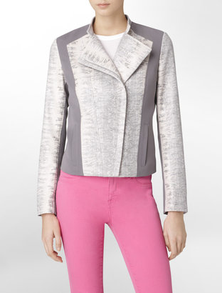 Calvin Klein Lightweight Faux Reptile Print Colorblock Jacket