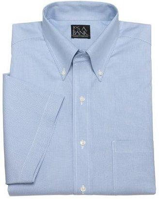 Jos. A. Bank Blue Houndstooth Traveler Short-Sleeve Dress Shirt