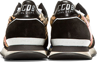 Golden Goose Black Leopard Print Calf-Hair Running Trainers