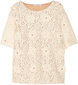 Chloé Floral-embroidered lace top