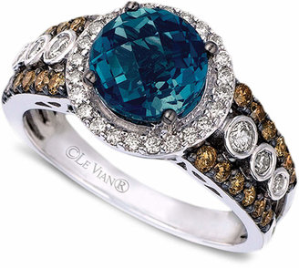 Le Vian® Blue Topaz (2 ct. t.w.) and White and Chocolate Diamonds® (3/4 ct. t.w.) Statement Ring in 14k White Gold $3,800 thestylecure.com