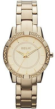 JCPenney Relic Payton Womens Crystal Accent Gold-Tone Bracelet Watch