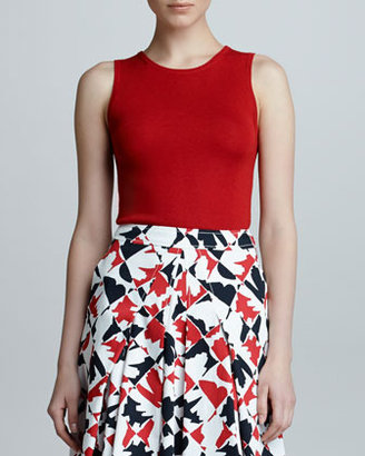 Carolina Herrera Sleeveless Cashmere Blend Shell, Mercury Red