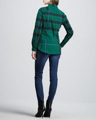 Burberry Button-Down Woven Check Shirt, Dark Racing Green