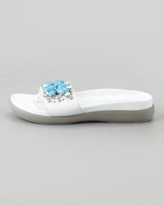 Donald J Pliner Holly Crystal-Beaded Thong Slide, White/Turquoise