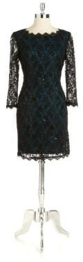 Adrianna Papell Embellished Floral Lace Dress