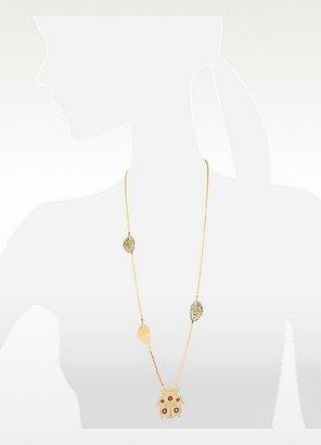 Les Nereides Empreintes Leaf and Beetle Long Necklace
