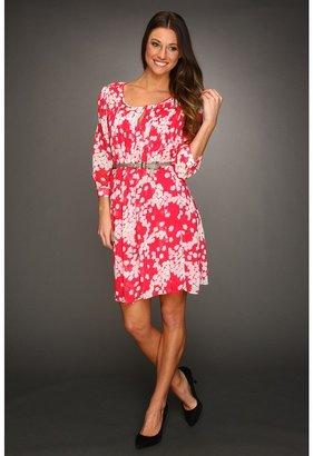Max & Cleo Johanna Casual Printed Dress (Fuschia Berry) - Apparel