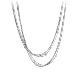 David Yurman Chain Necklace with Pavé; Diamond Beads