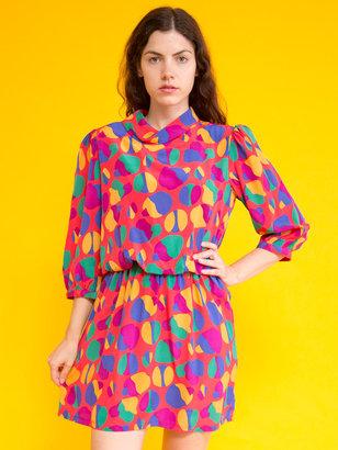 Christian Dior Vintage Colorful Print Silk Mini Dress