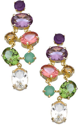 Carolee Gold and Crystal High Class Color Dramatic Chandelier Pierced Earrings