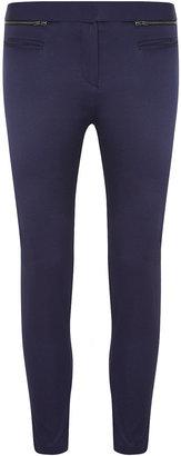 Dorothy Perkins Petite navy zip detail trouser
