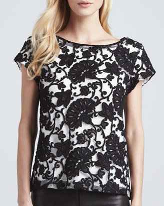 Alice + Olivia Connie Contrast-Lace Tee