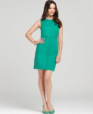 Ann Taylor Petite Polished Cotton Seamed Zip Sheath Dress