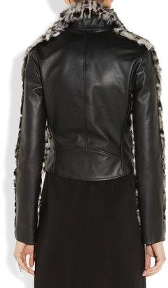 Christopher Kane Animal-print goat hair and leather biker jacket