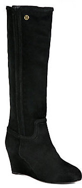 Tory Burch Irene Suede Knee-High Wedge Boots
