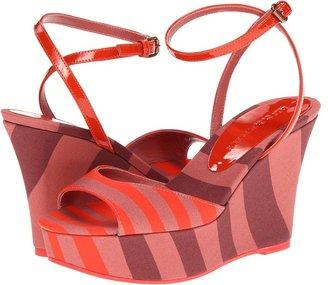 Burberry Rugby Stripe Wedge Sandals (Orange Red) - Footwear