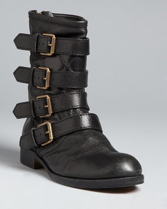 Marc by Marc Jacobs Buckled Flat Moto Boots