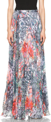 Alice + Olivia Shannon Pleated Maxi Skirt in Snow Leopard
