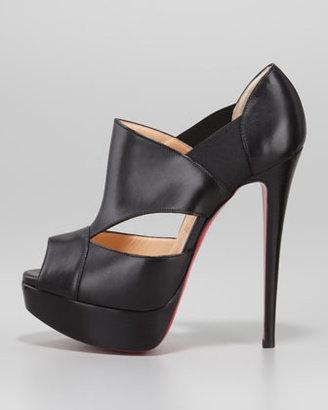 Christian Louboutin Pitou Leather Peep-Toe Red Sole Bootie, Black