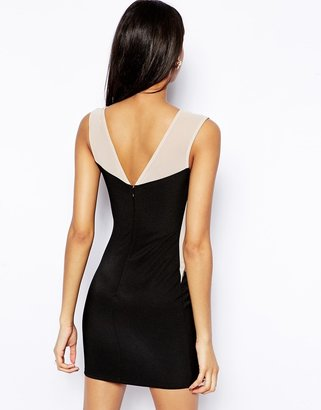 Lipsy Body-Conscious Dress with Mesh Insert