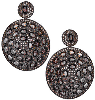 Hari Jewels Diamond Smoky Topaz Disk Drop Earrings